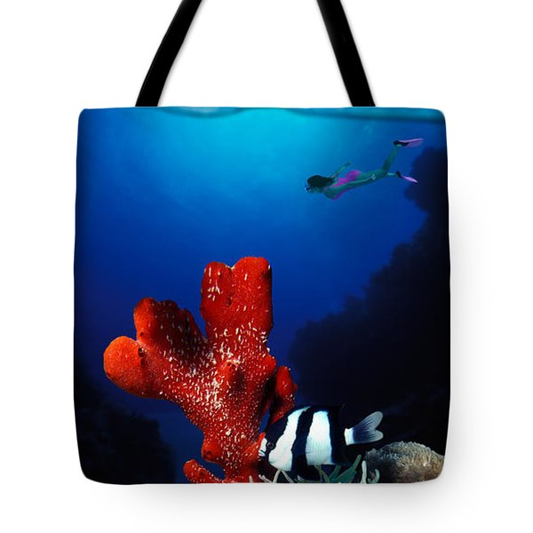 Underwater View Of Sea Anemone Tote Bag