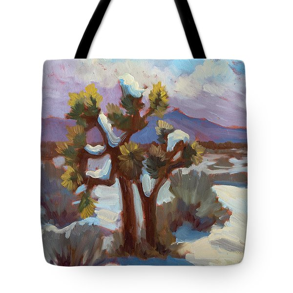 Unexpected Snowfall At Joshua Tree Tote Bag by Diane McClary