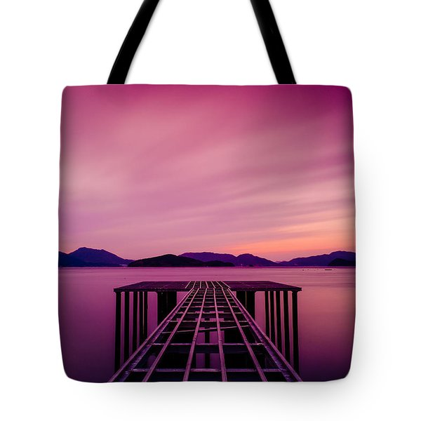 Unfinished Pier At Sunset Tote Bag