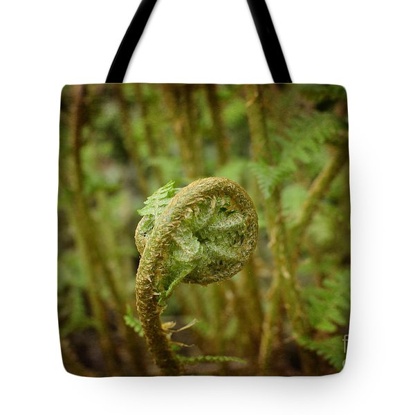 Unfurling Fern In The Garden Tote Bag by Maria Janicki
