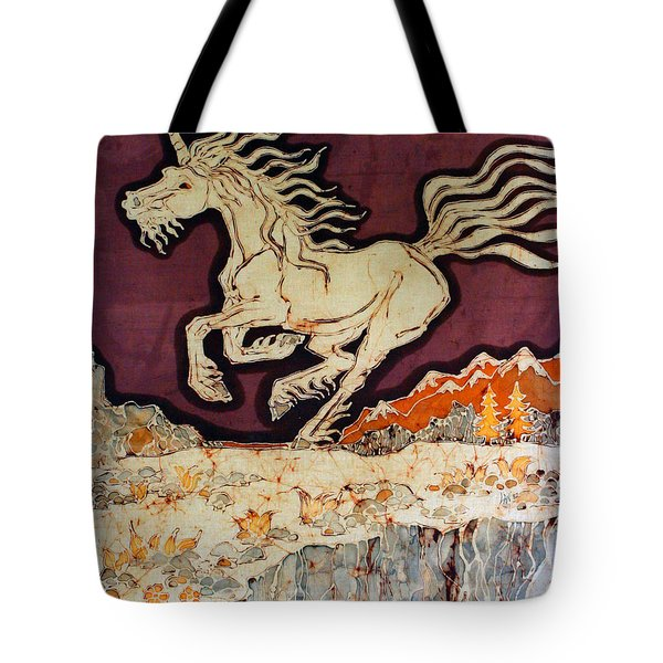 Unicorn Above Chasm Tote Bag