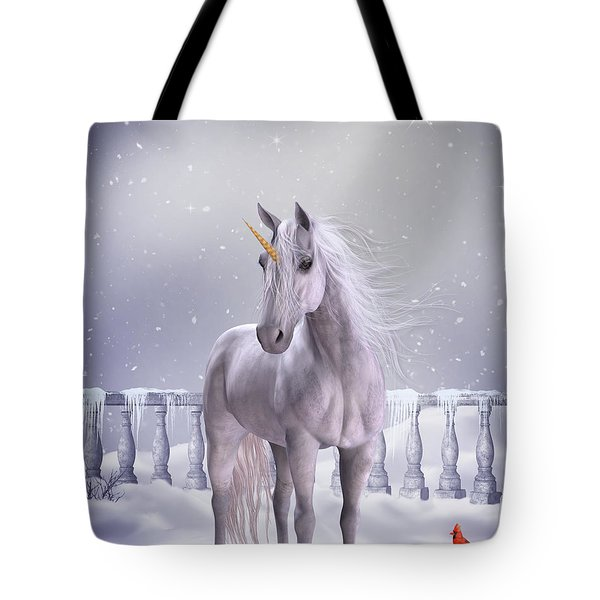Tote Bag featuring the digital art Unicorn In The Snow by Jayne Wilson