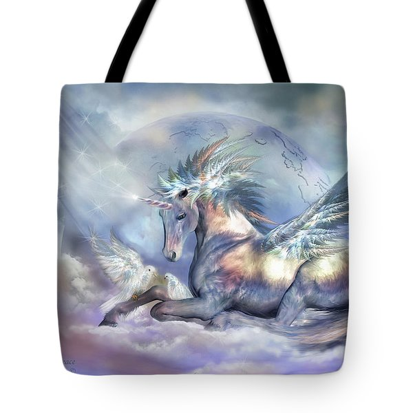 Unicorn Of Peace Tote Bag by Carol Cavalaris