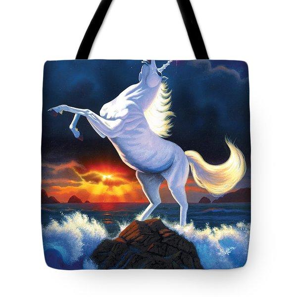 Unicorn Raging Sea Tote Bag by Chris Heitt