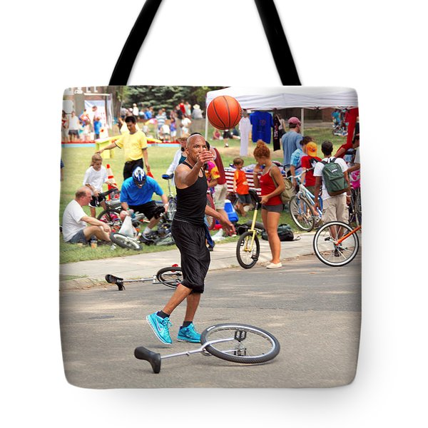 Unicyclist - Basketball - Street Rules  Tote Bag by Mike Savad