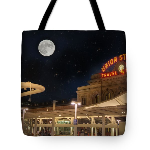 Union Station Denver Under A Full Moon Tote Bag by Juli Scalzi