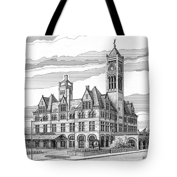 Tote Bag featuring the drawing Union Station In Nashville Tn by Janet King