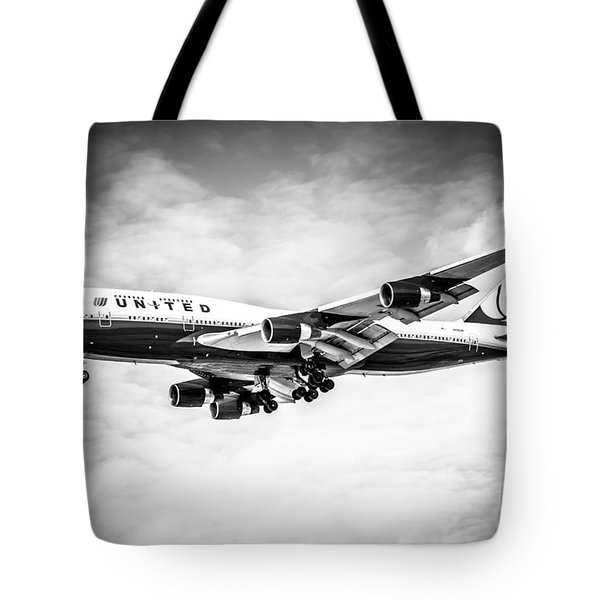 United Airlines Boeing 747 Airplane Black And White Tote Bag by Paul Velgos