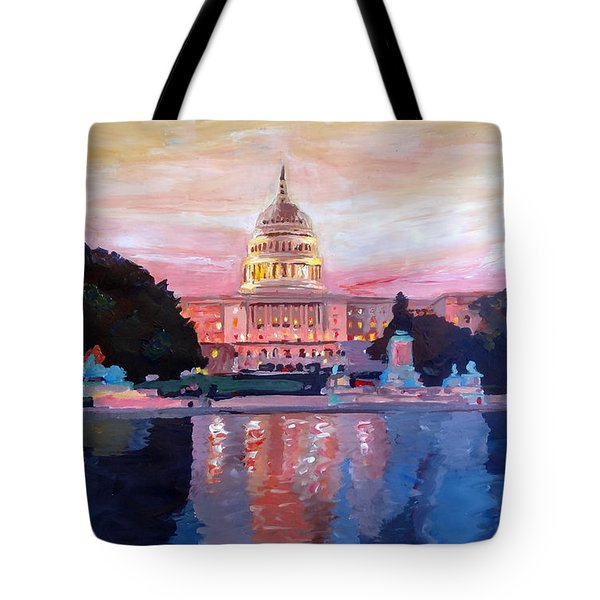 United States Capitol In Washington D.c. At Sunset Tote Bag by M Bleichner