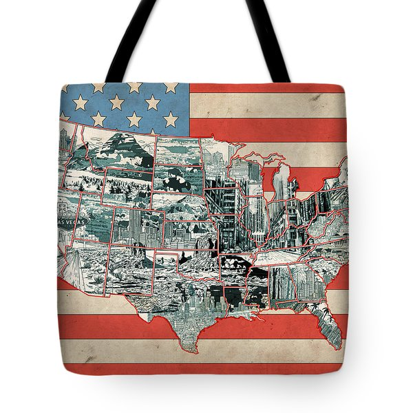United States Flag Map Tote Bag