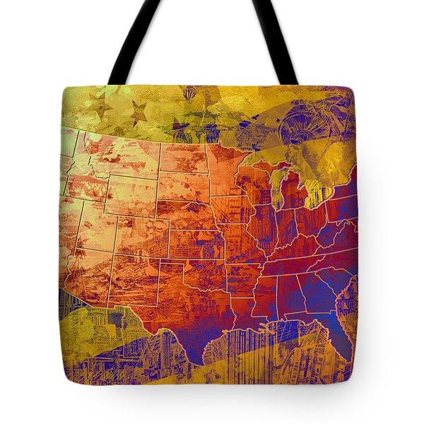 United States Flag Map Vintage 2 Tote Bag
