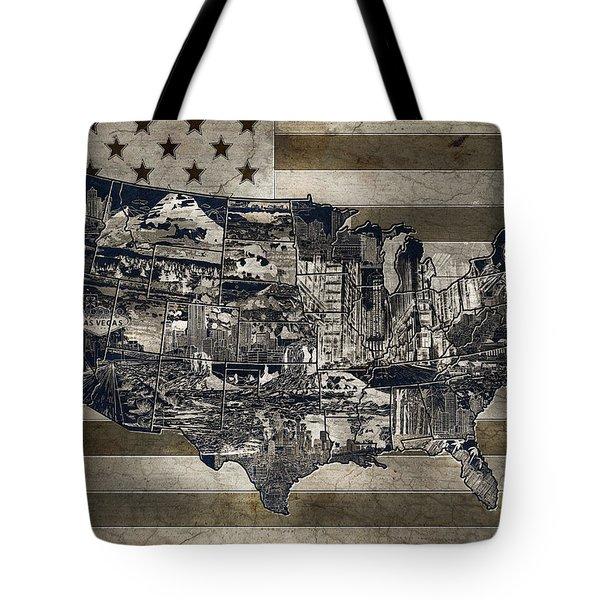 United States Flag Map Vintage 4 Tote Bag