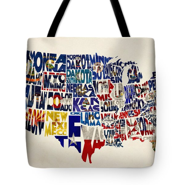 United States Flags Map Tote Bag