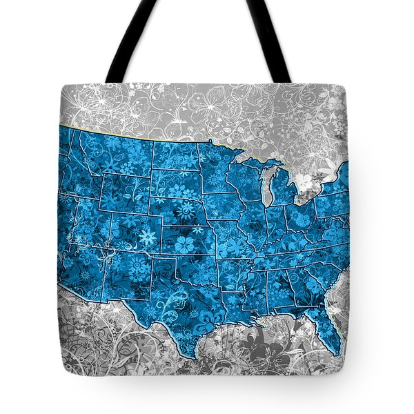 United States Floral Map  Tote Bag
