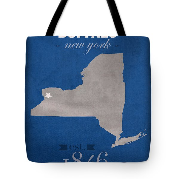 University At Buffalo New York Bulls College Town State Map Poster Series No 022 Tote Bag by Design Turnpike