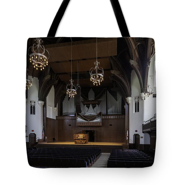 University Auditorium And The Anderson Memorial Organ Tote Bag by Lynn Palmer