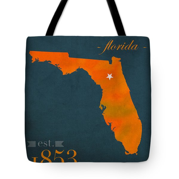 University Of Florida Gators Gainesville College Town Florida State Map Poster Series No 003 Tote Bag