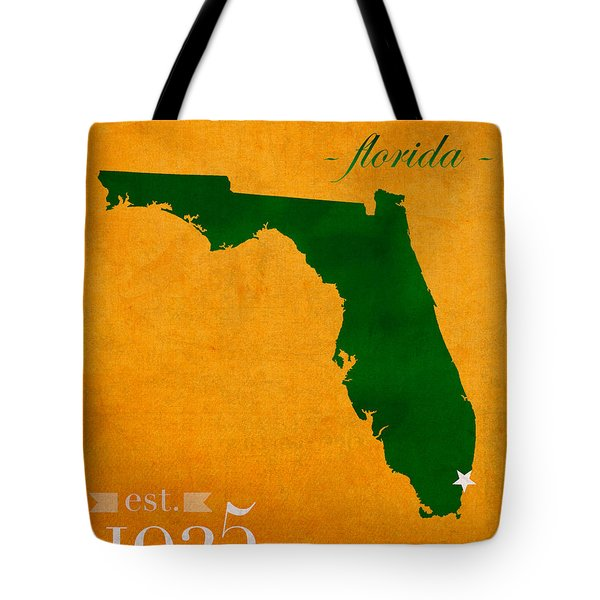 University Of Miami Hurricanes Coral Gables College Town Florida State Map Poster Series No 002 Tote Bag