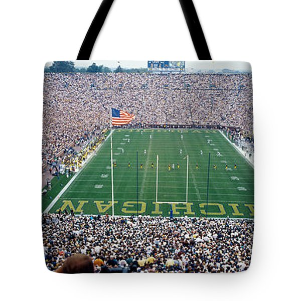 University Of Michigan Football Game Tote Bag by Panoramic Images