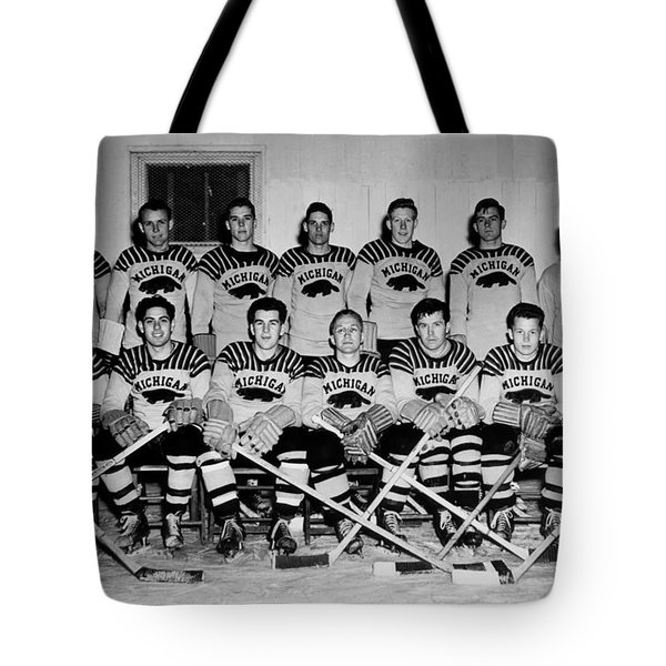University Of Michigan Hockey Team 1947 Tote Bag by Mountain Dreams