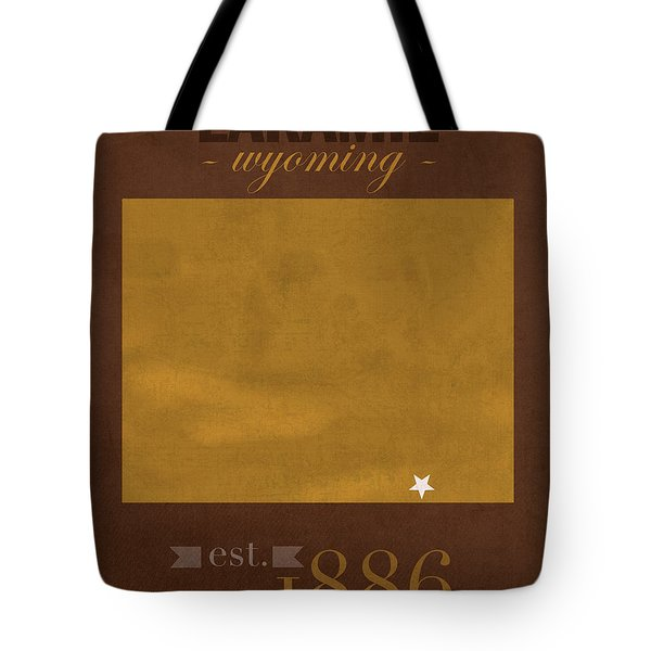 University Of Wyoming Cowboys Laramie Wy College Town State Map Poster Series No 128 Tote Bag