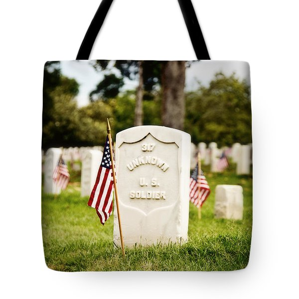 Unknown U.s. Soldier Tote Bag by Scott Pellegrin
