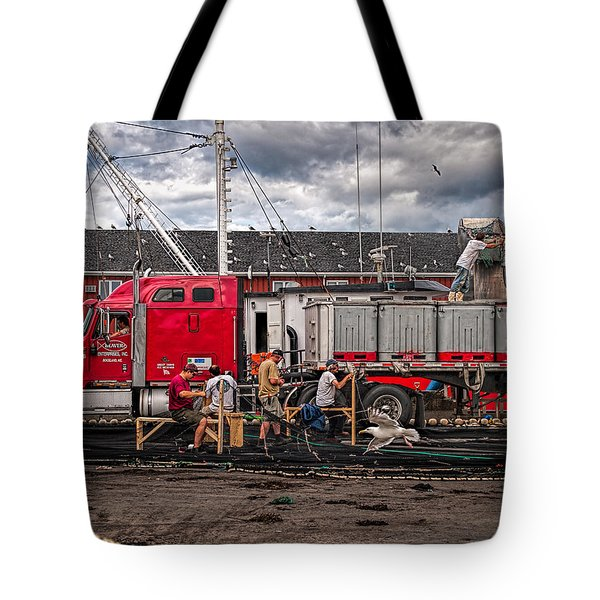 Unloading Fish And Mending Nets Tote Bag by Bob Orsillo