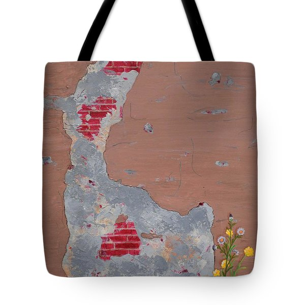 Unmasking The Red Brick Wall Tote Bag by Donna  Manaraze
