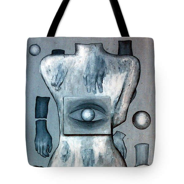 Tote Bag featuring the painting Listen Via Your Eyes by Fei A