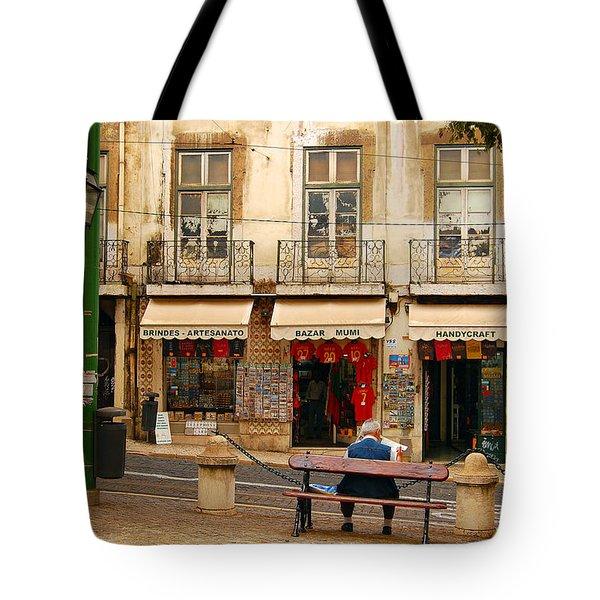 Lisbon Street Scene Tote Bag