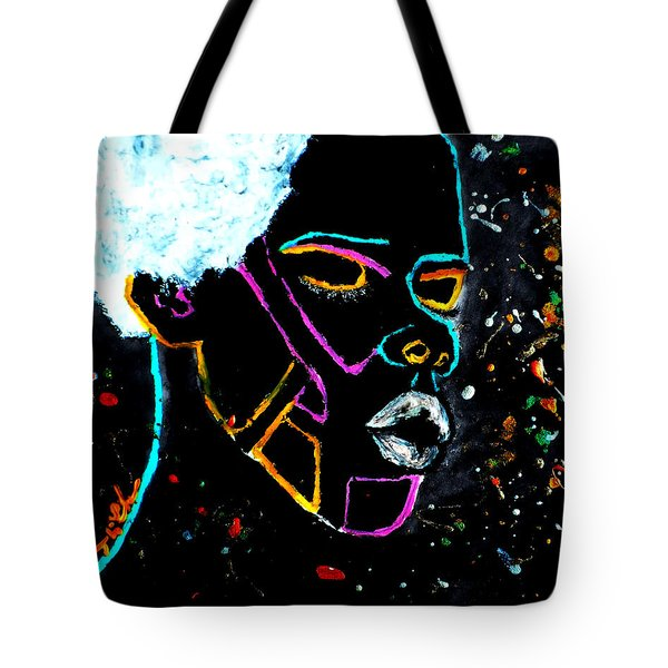 Tote Bag featuring the painting Pure Cosmic Blackness by Tarra Louis-Charles