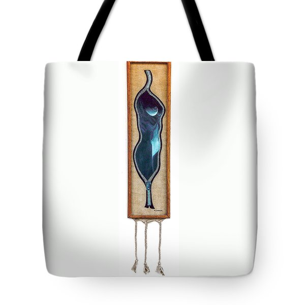 Tote Bag featuring the painting Unzipped Canvas by Fei A