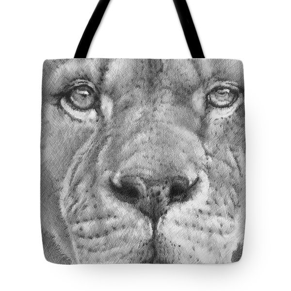 Up Close Lion Tote Bag by Barbara Keith