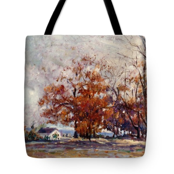 Tote Bag featuring the painting Up State Ny - Nyack by Walter Casaravilla