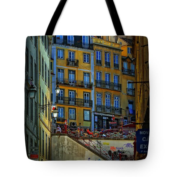 Up The Stairs - Lisbon Tote Bag by Mary Machare