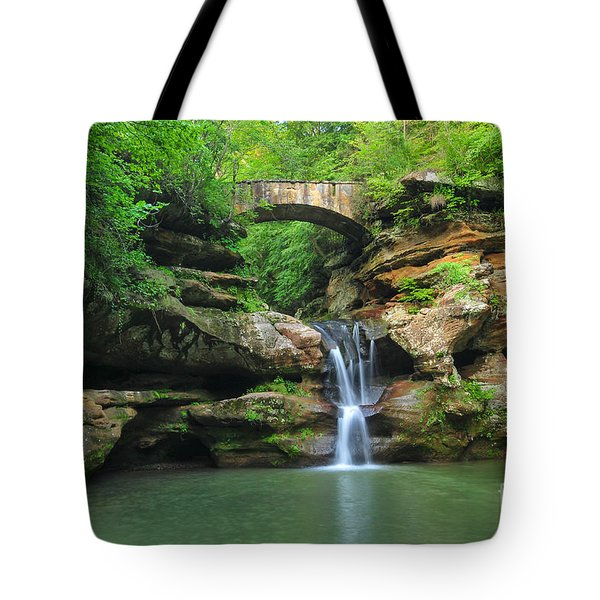 D10a-113 Upper Falls At Old Mans Cave Hocking Hills Photo Tote Bag