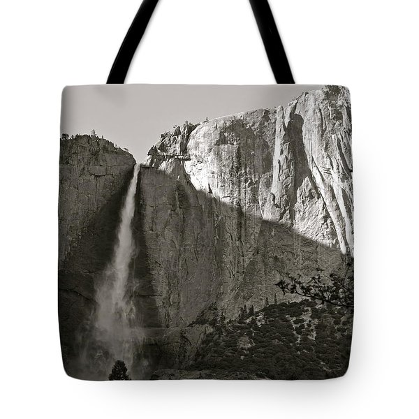 Upper Yosemite Falls Composition In Triangles Tote Bag