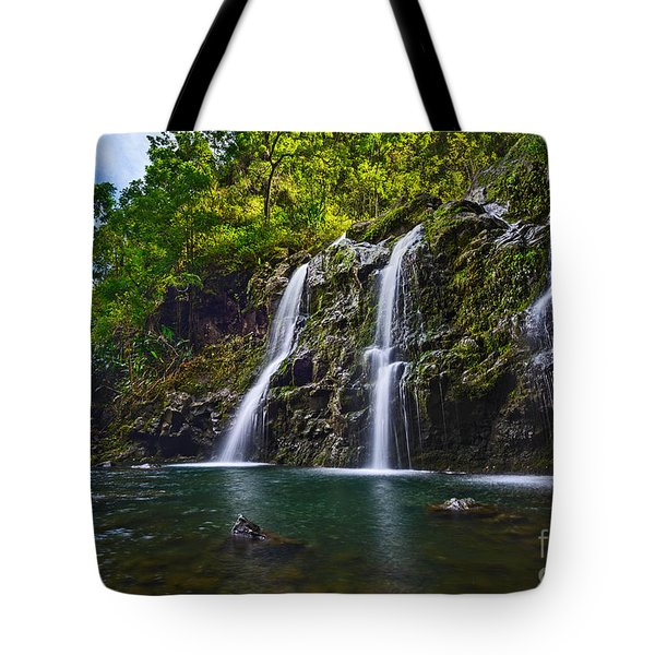 Upper Waikani Falls - The Stunningly Beautiful Three Bears Found In Maui. Tote Bag
