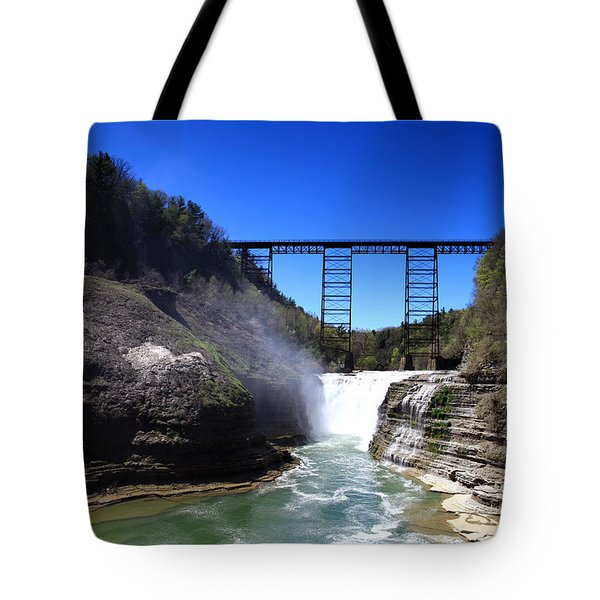 Upper Waterfalls In Letchworth State Park Tote Bag by Paul Ge