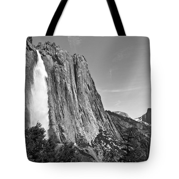 Upper Yosemite Fall With Half Dome Tote Bag