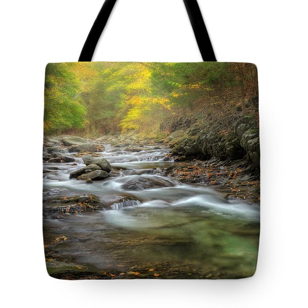 Upstream Fog Tote Bag by Bill Wakeley