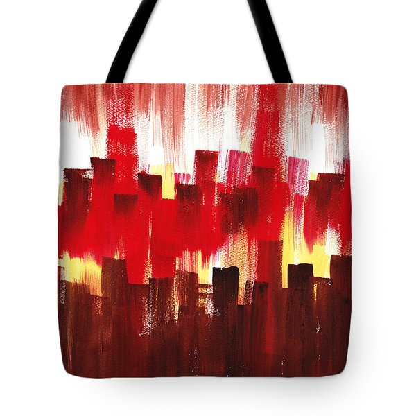 Tote Bag featuring the painting Urban Abstract Evening Lights by Irina Sztukowski