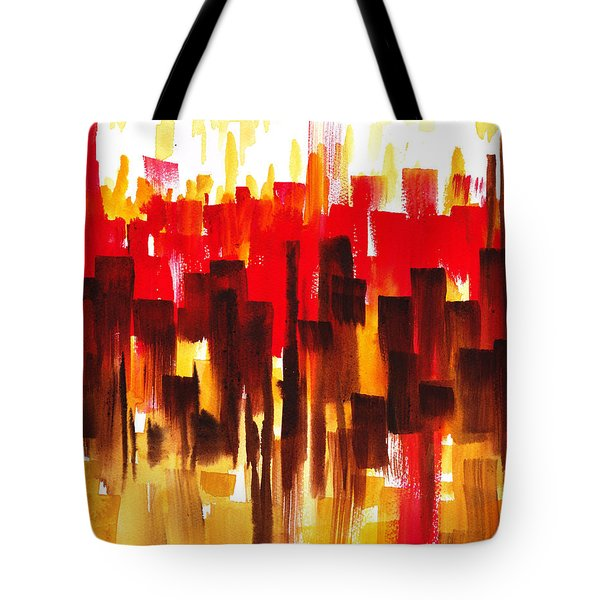 Tote Bag featuring the painting Urban Abstract Glowing City by Irina Sztukowski