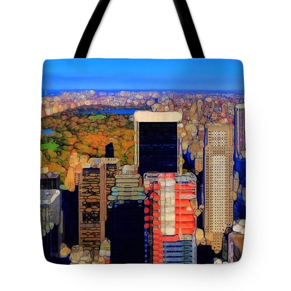 Urban Abstract New York City Skyline And Central Park Tote Bag by Dan Sproul