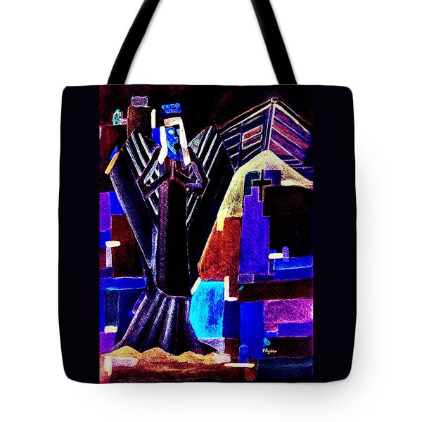 Tote Bag featuring the painting Urban Angel Of Dark by Paula Ayers