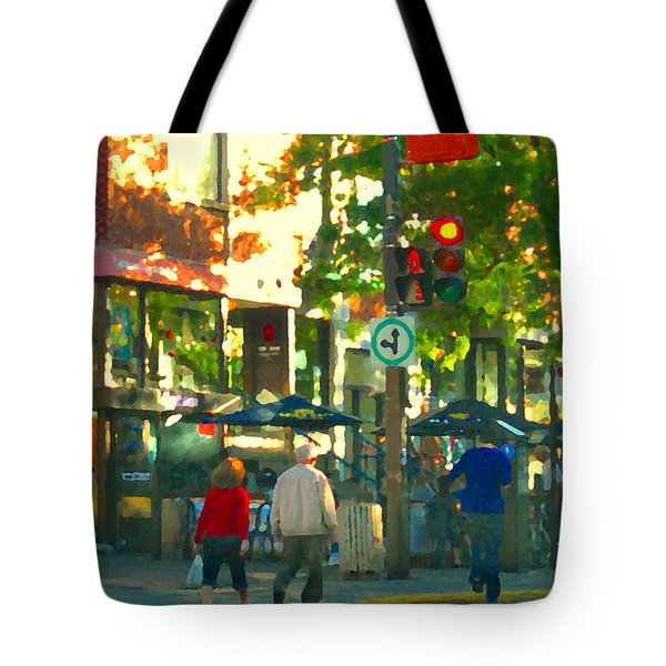 Urban Explorers Couple Walking Downtown Streets Of Montreal Summer Scenes Carole Spandau Tote Bag by Carole Spandau