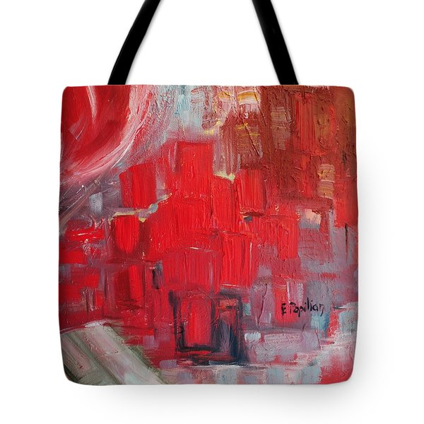 Tote Bag featuring the painting Urban View by Evelina Popilian
