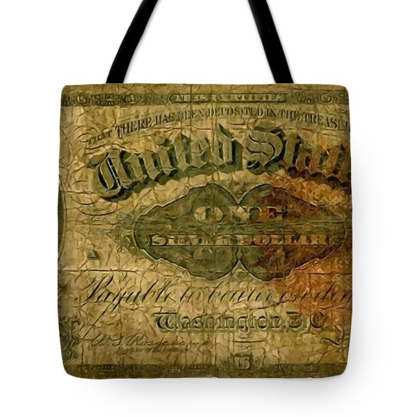 U.s. 1886 One Dollar Silver Certificate  Tote Bag by Lanjee Chee