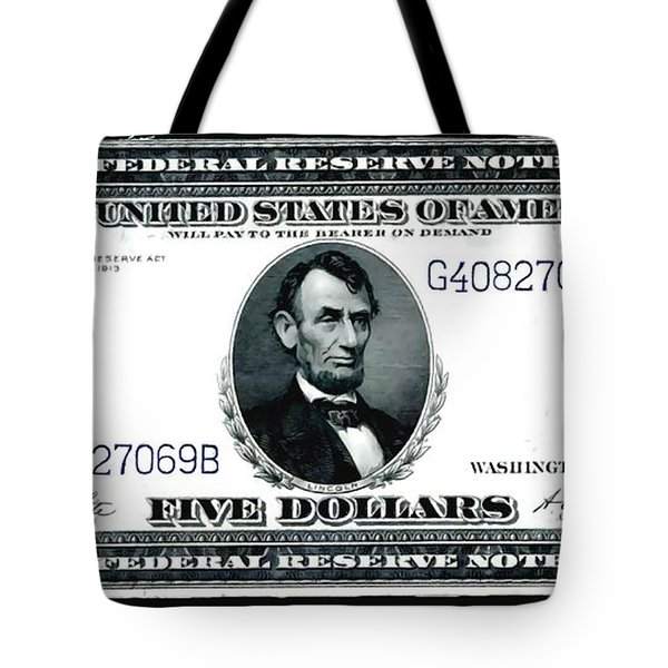 U.s. 1914 Five Dollar Federal Reserve Note Fr 871a Tote Bag by Lanjee Chee