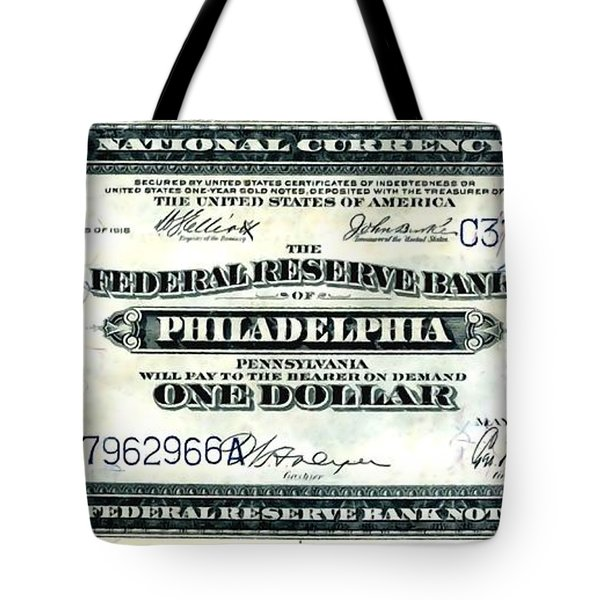 U.s. 1918 One Dollar Federal Reserve Note  Tote Bag by Lanjee Chee